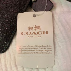 Coach Bags - COACH wristlet, metallic silver, glitter fabricNWT
